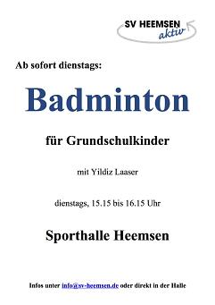 Badminton für Kinder©Sportverein Heemsen