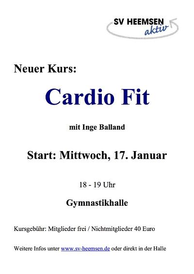Step & Co. mit Lena Schulze ab dem 15. Januar, Cardio Fit mit Inge Balland ab dem 17.