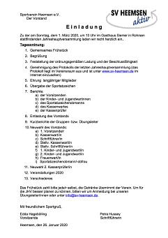 JHV 2020©Sportverein Heemsen