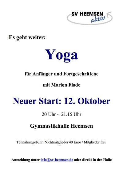 Start des neuen Yoga-Kurses verschoben!!!