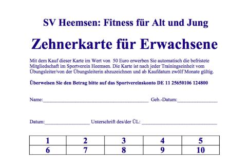 Zehnerkarte©Sportverein Heemsen